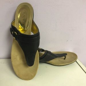 Lauren Ralph Lauren Black Krystal Thong Sandals